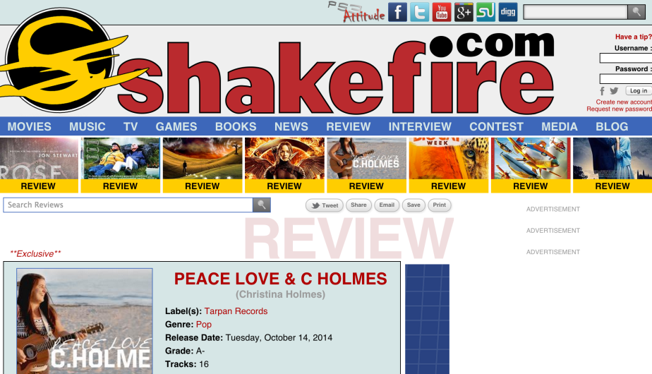 "Shakefire.com ""A"" Review from Tarpan Records artist Christina Holmes"